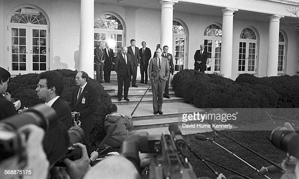 President George HW Bush in the Rose Garden at the White House talk about the visit of Sec of Defense Dick Cheney and Gen Colin Powell who had just...