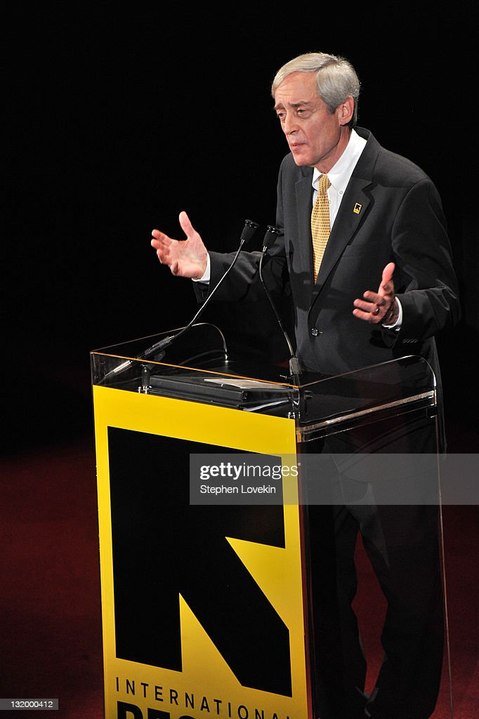 President George Rupp speaks at the International Rescue Committee's Annual Freedom Award benefit at the Waldorf Astoria Hotel on November 9, 2011 in New York City.