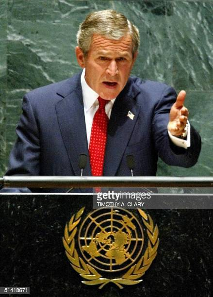 President George W Bush addresses the 57th session of the United Nations General Assembly 12 September 2002 at UN headquarters in New York City US...
