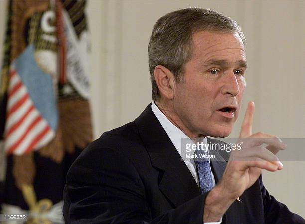 S President George W Bush addresses the nation during his first televised prime time news conference since becoming president October 11 2001 in...