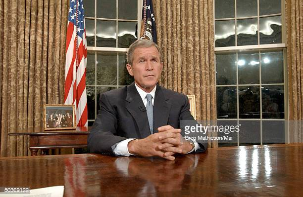 President George W Bush addresses the nation from the White House following the terrorist attacks on the World Trade Center and the Pentagon
