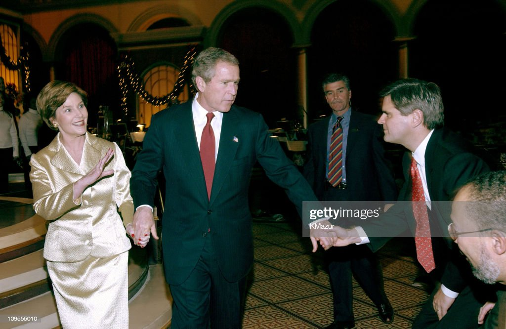 President <a gi-track='captionPersonalityLinkClicked' href=/galleries/search?phrase=George+W.+Bush&family=editorial&specificpeople=122011 ng-click='$event.stopPropagation()'>George W. Bush</a> and First Lady <a gi-track='captionPersonalityLinkClicked' href=/galleries/search?phrase=Laura+Bush&family=editorial&specificpeople=125185 ng-click='$event.stopPropagation()'>Laura Bush</a> say goodbye to AOL Time Warner Chairman <a gi-track='captionPersonalityLinkClicked' href=/galleries/search?phrase=Steve+Case&family=editorial&specificpeople=214603 ng-click='$event.stopPropagation()'>Steve Case</a> as they leave TNT's 'Christmas in Washington' Concert to air Sunday, December 15 at 8pm ET/PT, live from the National Building Museum in Washington DC.