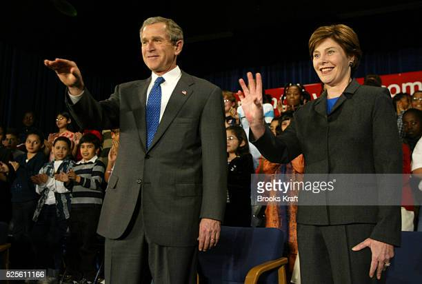 President George W Bush and First Lady Laura Bush visit Samuel W Tucker Elementary School in Alexandria Virginia on March 20 2002 The school is...