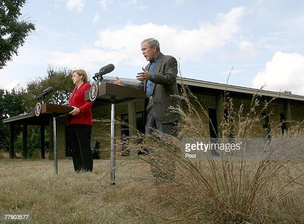 S President George W Bush and German Chancellor Angela Merkel speak at the news conference November 10 2007 in Crawford Texas The leaders are meeting...