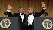 US President George W Bush and his inner monologue played by Steve Bridges entertain guests at the White House Correspondents' Dinner April 29 2006...