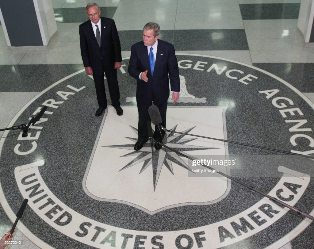 S President George W Bush and J Porter Goss Director of the CIA hold a press conference at the CIA Headquarters March 3 2005 in Langley Virginia Bush...