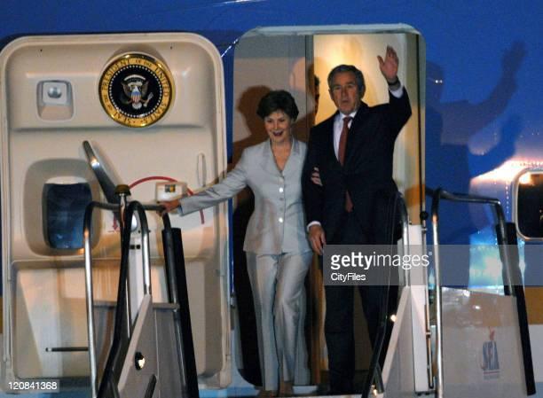 President George W Bush and Laura Bush during President George W Bush Arrives in Brazil March 9 2007 at Sao Paulo Internacional Airport in Sao Paulo...
