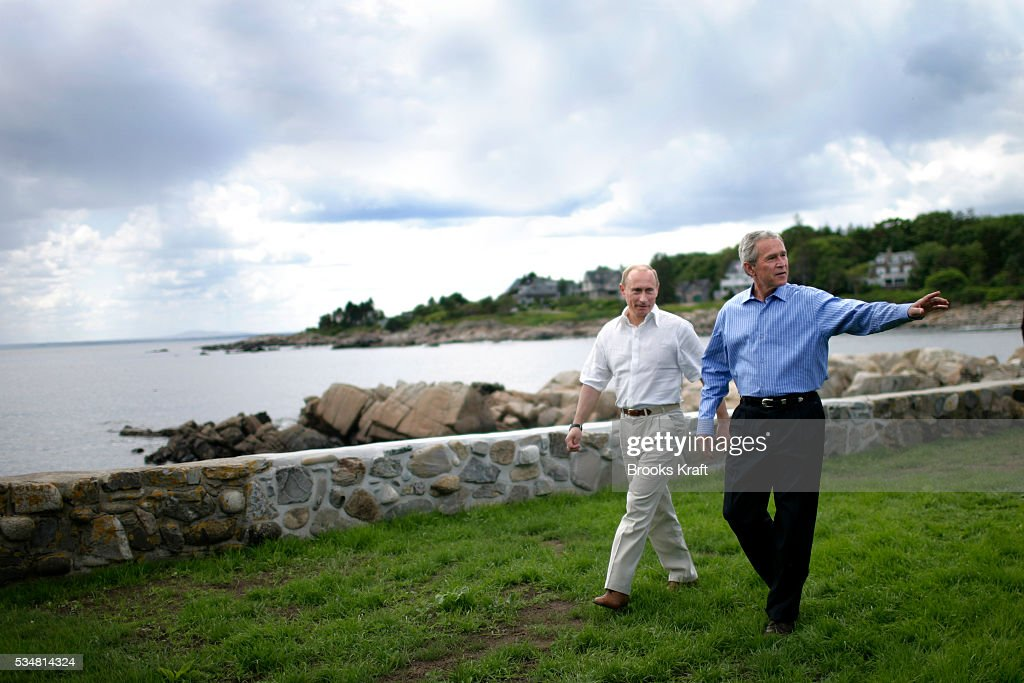 President George W Bush and Russian President Vladimir Putin at a joint news conference at Bush's family home in Kennebunkport Maine