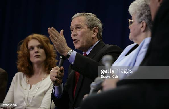 President George W Bush argues for his Social Security reforms during a townhall style meeting at Notre Dame University's Joyce Athletic and...