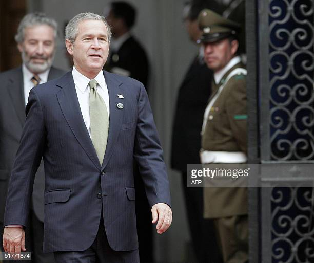 President George W Bush arrives at the La Moneda Palace in Santiago Chile 21 November 2004 Bush and the leaders of the 21 member countries are...