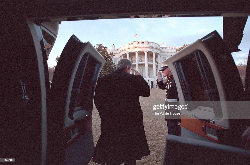 President George W. Bush arrives at the White House February 4, 2001 aboard his helicopter, Marine One. President Bush will celebrate his first 100 days in office April 29, 2001.