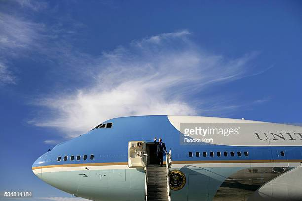 US President George W Bush arrives on Air Force One at Los Angeles International Airport October 3 2006