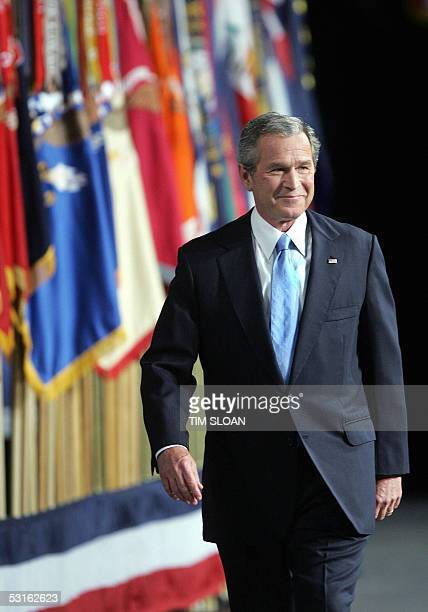 President George W Bush arrives to deliver his televised adress to the nation on the 'War on Terror' 28 June 2005 at Fort Bragg North Carolina AFP...