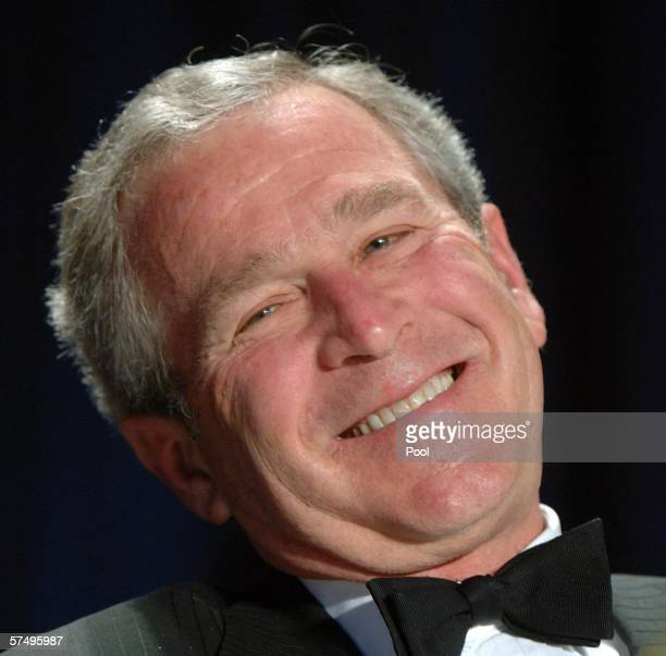 US President George W Bush attends the White House Correspondents' Dinner April 29 2006 in Washington DC