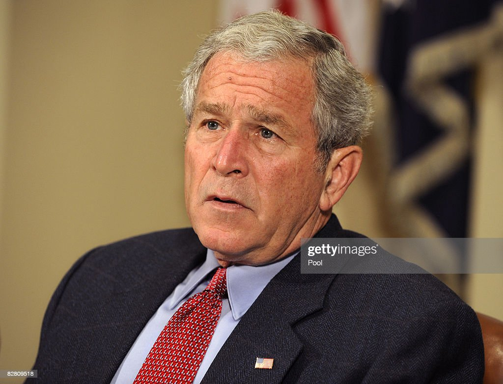 U.S. President <a gi-track='captionPersonalityLinkClicked' href=/galleries/search?phrase=George+W.+Bush&family=editorial&specificpeople=122011 ng-click='$event.stopPropagation()'>George W. Bush</a> (C) briefs the press on relief efforts in the aftermath of Hurricane Ike at the White House September 14, 2008 in Washington, DC. Ike caused extensive damage along the Texas Gold Coast, leaving millions without power.