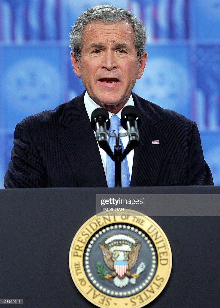 President George W Bush delivers a televised adress to the nation on the 'War on Terror' 28 June 2005 at Fort Bragg North Carolina AFP PHOTO / TIM...