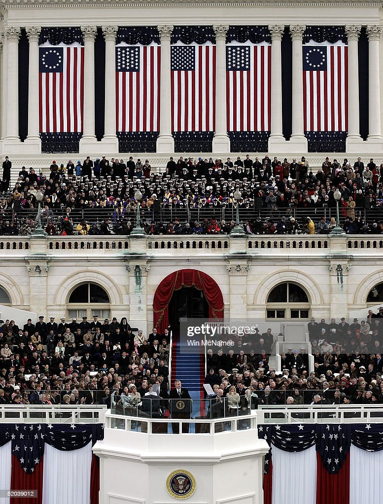 U.S. President George W. Bush delivers his inaugural speech after taking the oath of office during ceremonies on the west front of the U.S. Capitol January 20, 2005 in Washington, D.C. Bush?s address outlined his plans to pursue freedom around the world and push a legacy-setting agenda at home championing freedom as the surest path to peace.