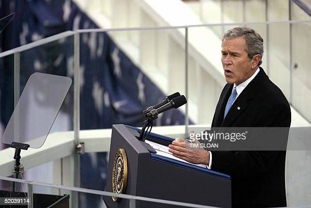 President George W Bush delvers his inauguration speech 20 January on the west side of the US Capitol in Washington DC Bush launched his second term...
