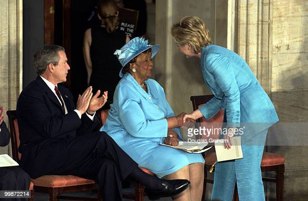 President George W Bush Dorothy Height and Hillary Clinton DNY during the Gold Medal Ceremony U S Capitol Rotunda