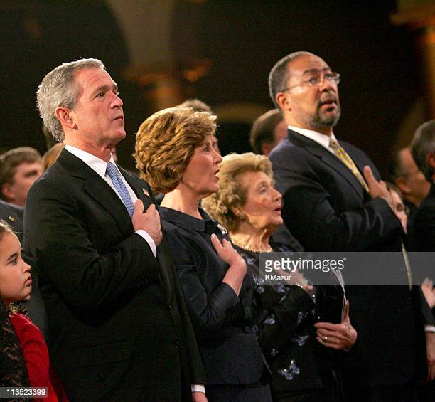 President George W Bush First Lady Laura Bush guest and Richard Parsons