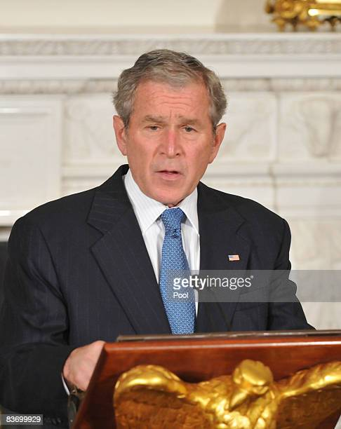 S President George W Bush gives remarks at a summit on financial markets and the world economy on the North Portico of the White House November 14...