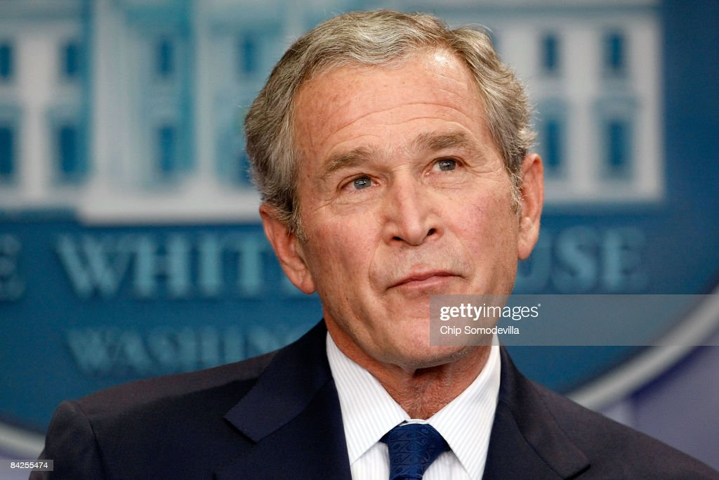 U.S. President <a gi-track='captionPersonalityLinkClicked' href=/galleries/search?phrase=George+W.+Bush&family=editorial&specificpeople=122011 ng-click='$event.stopPropagation()'>George W. Bush</a> holds a news conference in the Brady Press Briefing Room at the White House January 12, 2009 in Washington, DC. Bush spent nearly an hour fielding questions during his last news conference as president of the United States before President-elect Barack Obama is sworn in on January 20.