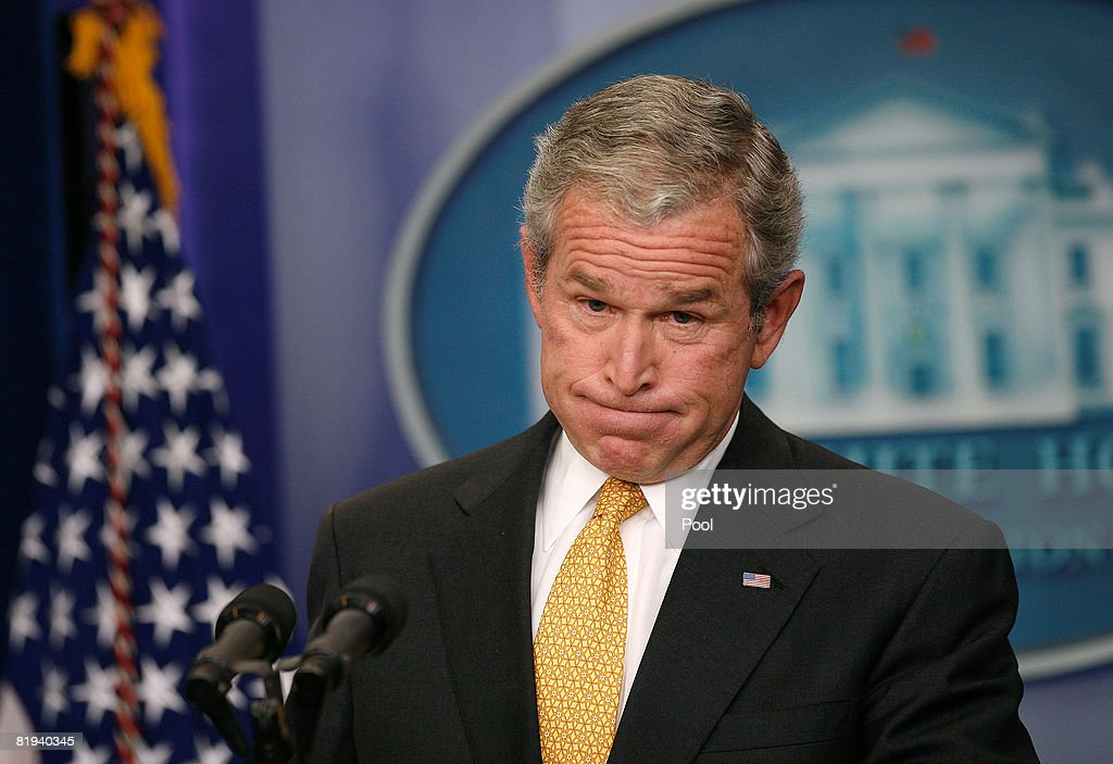U.S. President <a gi-track='captionPersonalityLinkClicked' href=/galleries/search?phrase=George+W.+Bush&family=editorial&specificpeople=122011 ng-click='$event.stopPropagation()'>George W. Bush</a> holds a press conference in the Brady Press Briefing Room of the White House July 15, 2008 in Washington, DC. President Bush urged the US Congress to act quickly on a plan to shore up housing finance giants Fannie Mae and Freddie Mac and also to lift a ban on offshore drilling to help increase domestic oil production.