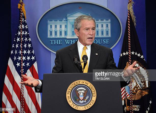 US President George W Bush holds a press conference on July 15 2008 at the White House in Washington DC President Bush on Tuesday urged the US...