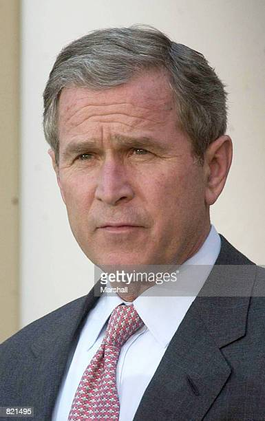 President George W Bush makes a statement April 3 2001 at the Rose Garden of the White House in Washington DC Bush called on China to immediately...