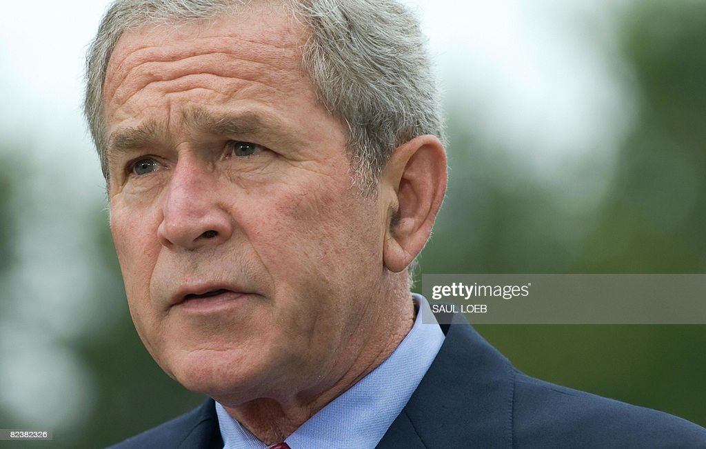 US President George W Bush makes a statement at his ranch in Crawford Texas on August 16 2008 Bush said Saturday that Russia's signing of a peace...