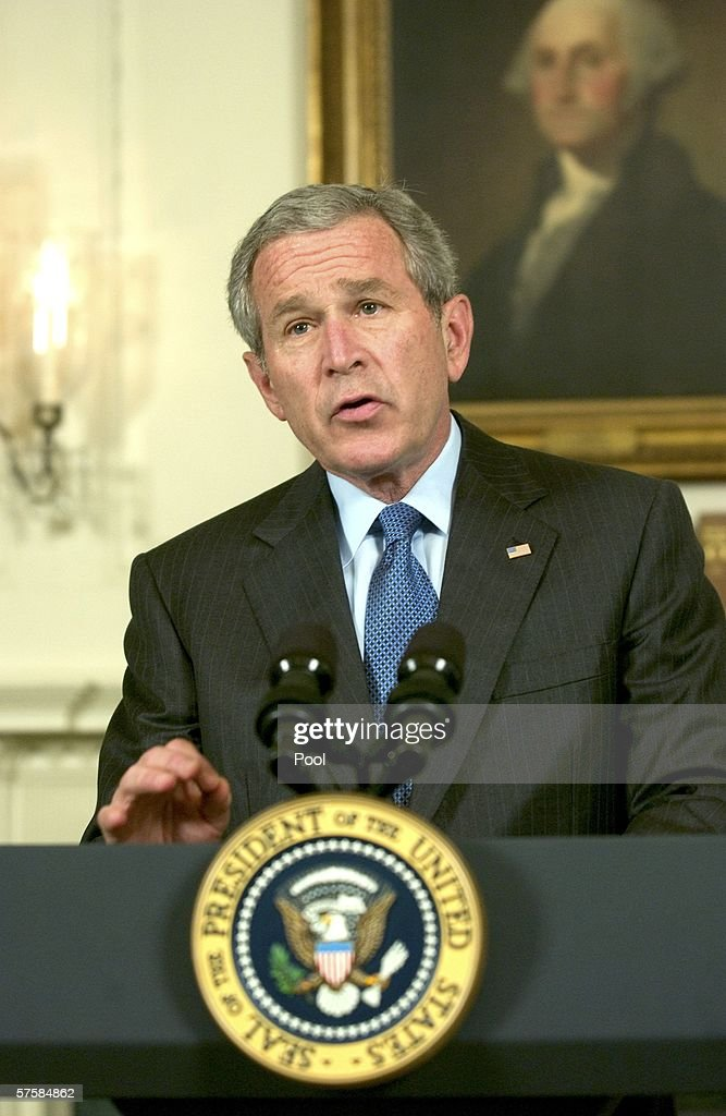 U.S. President <a gi-track='captionPersonalityLinkClicked' href=/galleries/search?phrase=George+W.+Bush&family=editorial&specificpeople=122011 ng-click='$event.stopPropagation()'>George W. Bush</a> makes a statement in the Diplomatic Reception Room of the White House May 11, 2006 in Washington, DC. In his statement, President Bush defended the National Security Agency's (NSA) collecting of phone information.