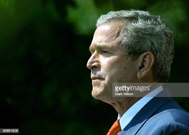 President George W Bush makes remarks while meeting with the 2003 WNBA World Champions Detroit Shock in The Rose Garden at the White House May 24...