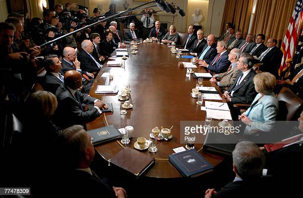 S President George W Bush meets with cabinet members October 24 2007 in Washington DC Bush declared California a disaster area because of the...