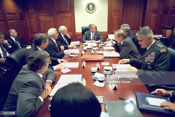 S President George W Bush meets with his National Security Council September 20 2001 in the Situation Room in the White House in Washington DC are...