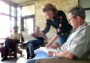 S President George W Bush meets with his senior staff August 6 2001 at his ranch in Crawford Texas From left are Steve Biegun of the national...