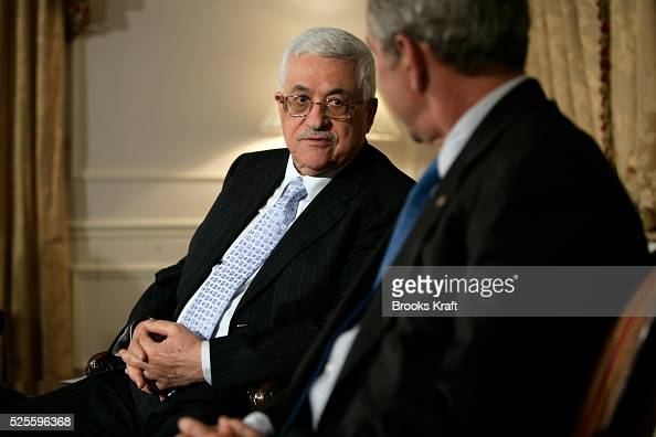 President George W Bush meets with Palestinian Authority President Mahmoud Abbas at the Waldorf Astoria Hotel in New York