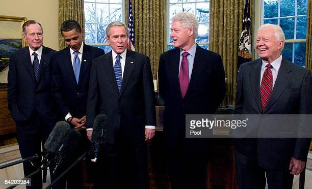 S President George W Bush meets with Presidentelect Barack Obama former President Bill Clinton former President Jimmy Carter and former President...