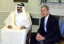 President George W Bush meets with Sheikh Hamad bin Khalifa Al Thani Amir of the State of Qatar in the Oval Office of White House October 4 2001 in...