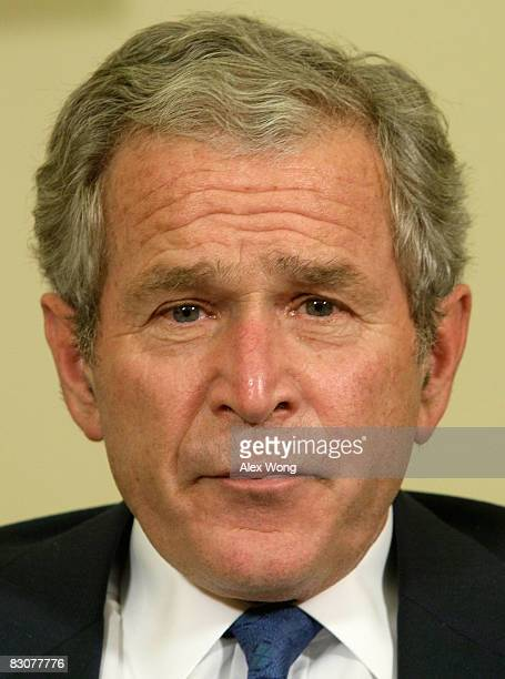 S President George W Bush pauses as he speaks to the media during a meeting with Gen David McKiernan Commander for NATO International Security...