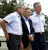 President George W Bush Secretary of Defense Donald Rumsfeld and Chairman of the Joint Chiefs of Staff Gen Richard Myers meet with reporters 23...