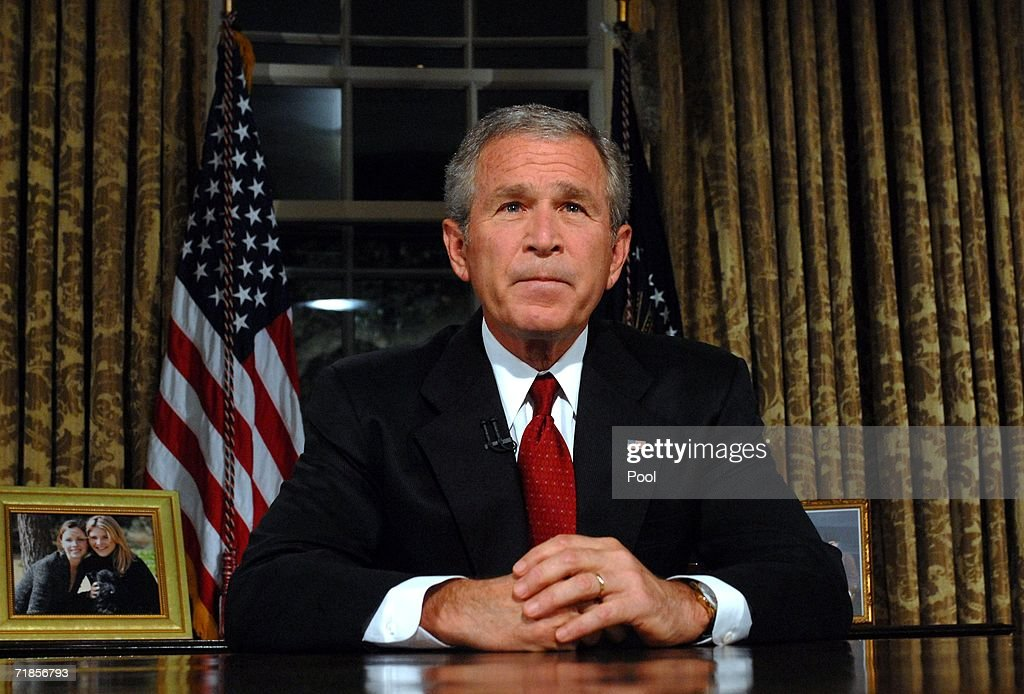 U.S. President <a gi-track='captionPersonalityLinkClicked' href=/galleries/search?phrase=George+W.+Bush&family=editorial&specificpeople=122011 ng-click='$event.stopPropagation()'>George W. Bush</a> sits at his desk in the Oval Office of the White House after addressing the nation on the anniversary of the 2001 terrorist attacks September 11, 2006 in Washington, DC. It's been five years since terrorists seized four airliners in flight, crashing two in the World Trade Center in New York, one into the Pentagon in Arlington, Virginia and one into a field in Shanksville, Pennsylvania.
