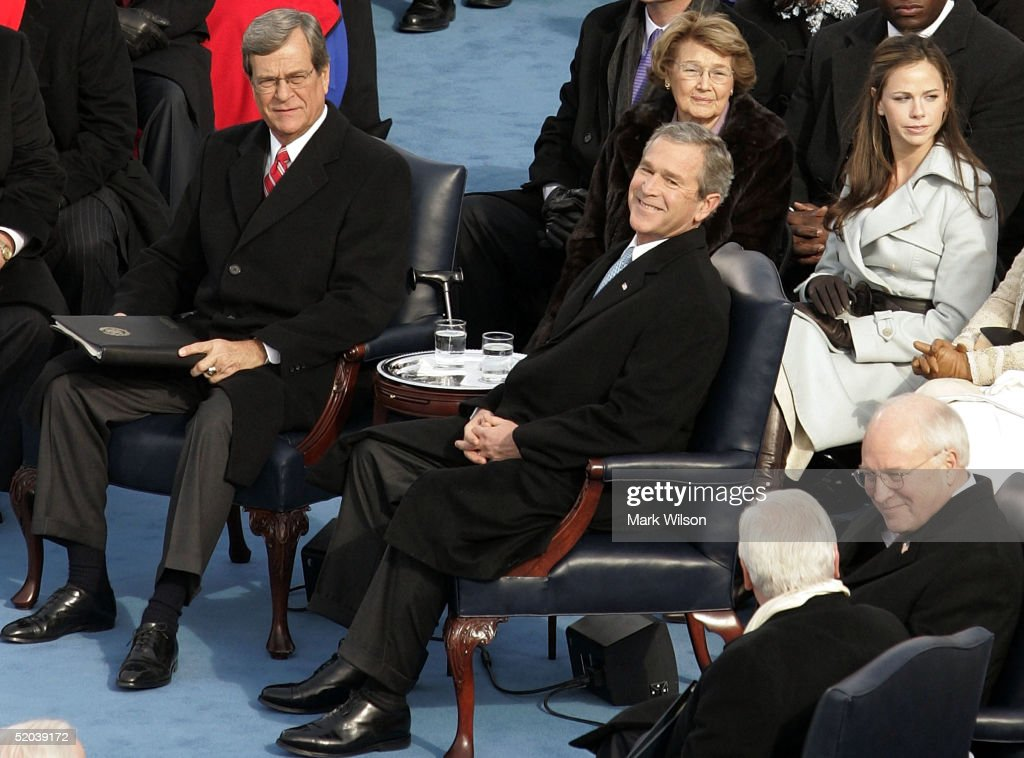 U.S. President George W. Bush smiles as his daughter Barbara and Sen. Trent Lott (R-MS) a look on during his inauguration ceremonies January 20th, 2005 in Washington, DC. Bush was sworn-in for a second term.