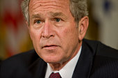 President George W Bush speaks about Hurricane Ike at the White House in Washington