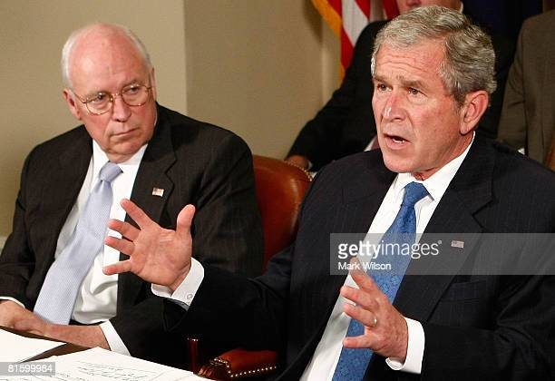 US President George W Bush speaks about the recent flooding in the midwest that has displaced thousands during a briefing about the floods as Vice...