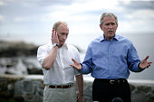 President George W Bush speaks alongside Russian President Vladimir Putin at a joint news conference at Bush's family home in Kennebunkport Maine