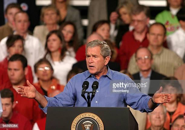 President George W Bush speaks at a campaign campaign rally for Missouri Senator James Talent in Springfield Missouri Friday November 3 2006...