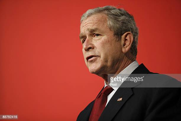 US President George W Bush speaks at the reopening ceremony of the National Museum of American History November 19 2008 in Washington DC The National...