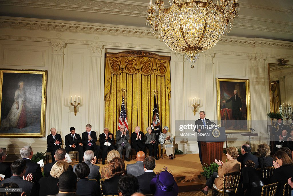 US President George W. Bush speaks before presenting the 2007 Presidential Medal of Freedom 05 November 2007 in the East Room of the White House in Washington, DC. The award is the highest civilian honour given by the president in recognition of meritorious contribution to the US and to world peace. AFP PHOTO/Mandel NGAN