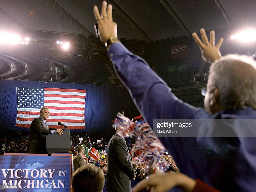 U.S. President George W. Bush speaks during a campaign rally at the Silverdome, October 27, 2004 in Pontiac, Michigan. Recent polls show that the president is in a neck and neck race his challenger, Democratic presidentail candidate John Kerry (D-MA).