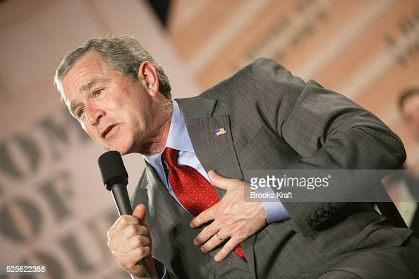 President George W Bush speaks during a conversation on home ownership at Maine Line YMCA in Ardmore Pennsylvania Bush met with firsttime home buyers...